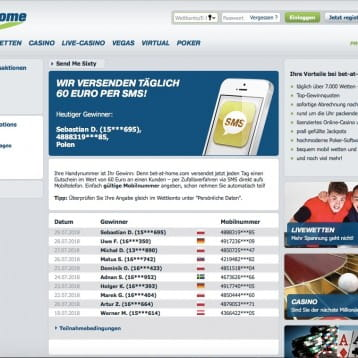 bet-at-home: 60 Euro Cash per SMS gewinnen